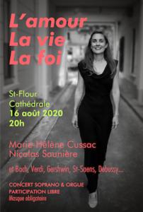 Marie-Hélène Cussac Affiche du CONCERT L'amour, la vie, la foi, Saint-Flour le 16 août 2020