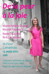 Marie-Helene Cussac concert soprano et orgue 13 aout 2021